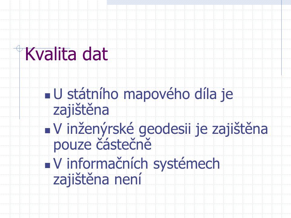 Kvalita dat U státního mapového díla je zajištěna V inženýrské geodesii je zajištěna pouze částečně V informačních systémech zajištěna není