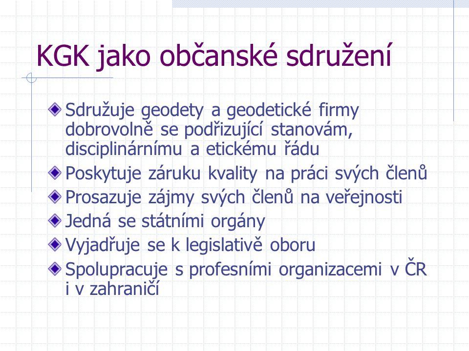 KGK jako občanské sdružení Sdružuje geodety a geodetické firmy dobrovolně se podřizující stanovám, disciplinárnímu a etickému řádu Poskytuje záruku kvality na práci svých členů Prosazuje zájmy svých členů na veřejnosti Jedná se státními orgány Vyjadřuje se k legislativě oboru Spolupracuje s profesními organizacemi v ČR i v zahraničí