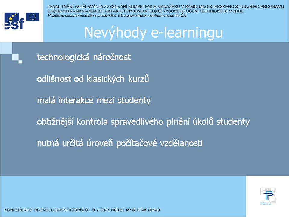 Nevýhody e-learningu technologická náročnost odlišnost od klasických kurzů malá interakce mezi studenty obtížnější kontrola spravedlivého plnění úkolů studenty nutná určitá úroveň počítačové vzdělanosti