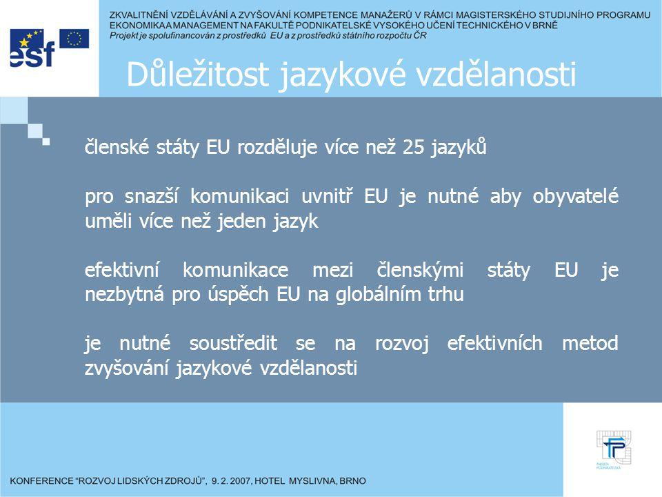 Důležitost jazykové vzdělanosti členské státy EU rozděluje více než 25 jazyků pro snazší komunikaci uvnitř EU je nutné aby obyvatelé uměli více než jeden jazyk efektivní komunikace mezi členskými státy EU je nezbytná pro úspěch EU na globálním trhu je nutné soustředit se na rozvoj efektivních metod zvyšování jazykové vzdělanosti