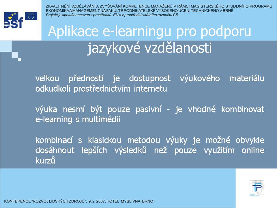 Závěr je nezbytně nutné podporovat jazykovou vzdělanost e-learning je nový a efektivní způsob podpory jazykové vzdělanosti stále více obyvatel EU vyhledává kurzy dostupné online vhodným využitím e-learningu lze dosáhnout úspory peněžních nákladů i času