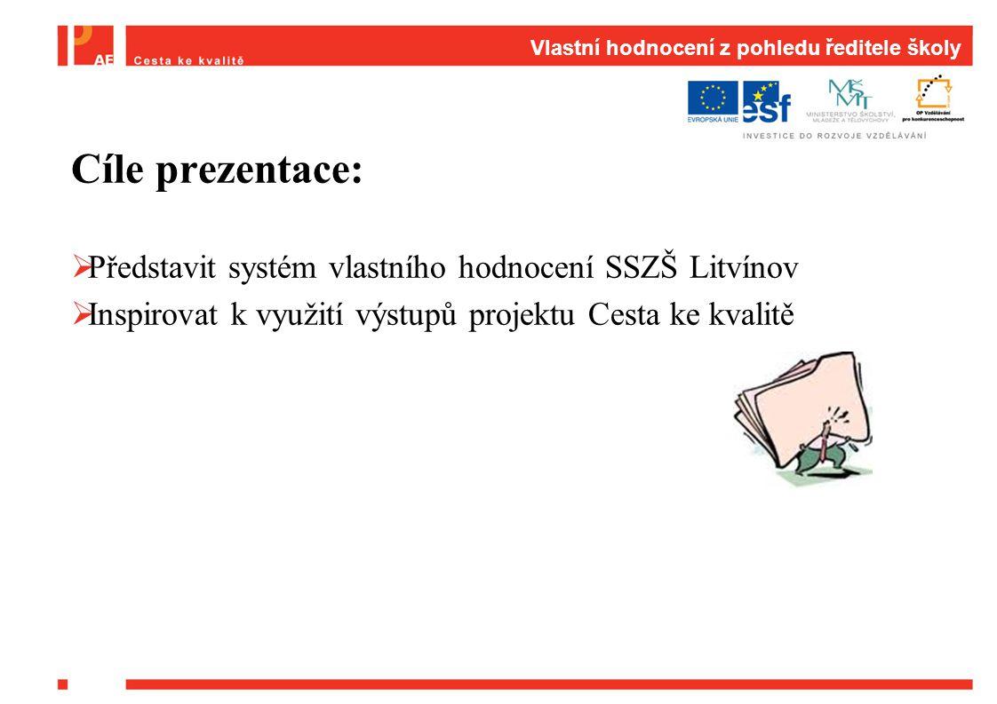Cíle prezentace:  Představit systém vlastního hodnocení SSZŠ Litvínov  Inspirovat k využití výstupů projektu Cesta ke kvalitě