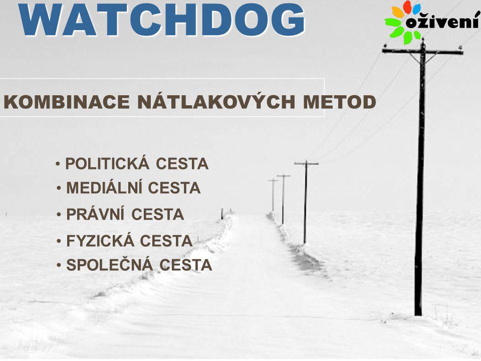 WATCHDOG KOMBINACE NÁTLAKOVÝCH METOD POLITICKÁ CESTA MEDIÁLNÍ CESTA PRÁVNÍ CESTA FYZICKÁ CESTA SPOLEČNÁ CESTA