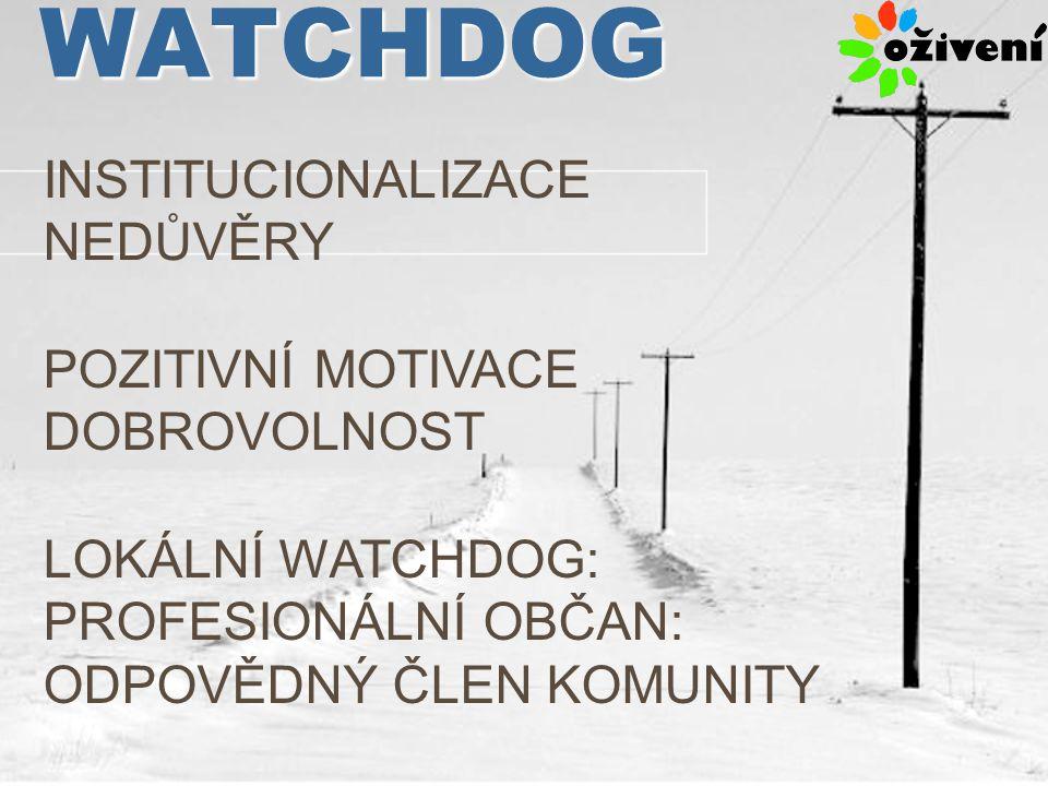 WATCHDOG INSTITUCIONALIZACE NEDŮVĚRY POZITIVNÍ MOTIVACE DOBROVOLNOST LOKÁLNÍ WATCHDOG: PROFESIONÁLNÍ OBČAN: ODPOVĚDNÝ ČLEN KOMUNITY