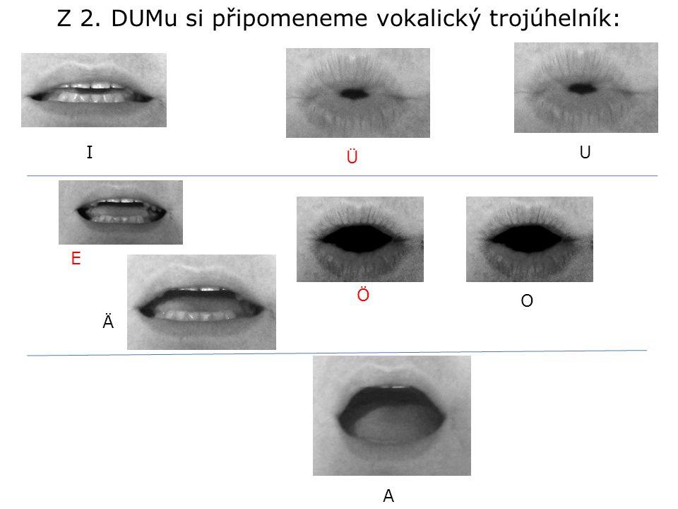 I E A O U Ä Z 2. DUMu si připomeneme vokalický trojúhelník: Ü Ö