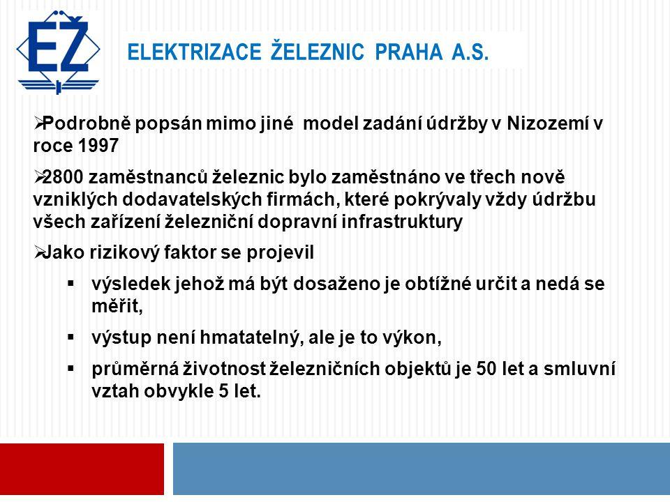 ELEKTRIZACE ŽELEZNIC PRAHA A.S.  Podrobně popsán mimo jiné model zadání údržby v Nizozemí v roce 1997  2800 zaměstnanců železnic bylo zaměstnáno ve
