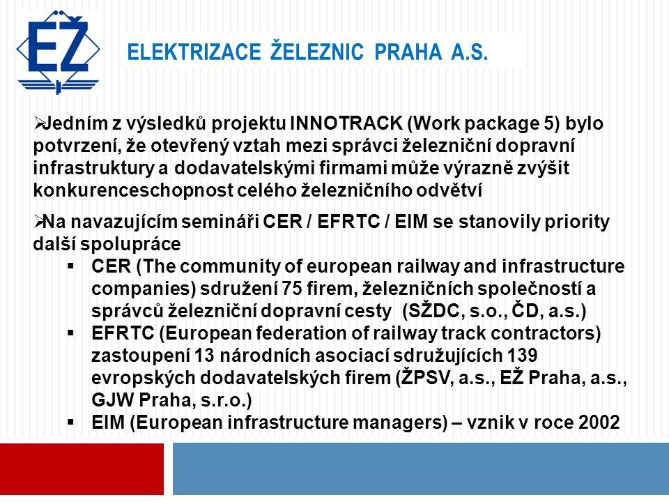 ELEKTRIZACE ŽELEZNIC PRAHA A.S.  Jedním z výsledků projektu INNOTRACK (Work package 5) bylo potvrzení, že otevřený vztah mezi správci železniční dopr