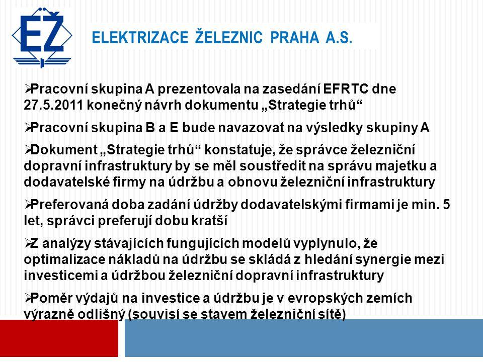 """ELEKTRIZACE ŽELEZNIC PRAHA A.S.  Pracovní skupina A prezentovala na zasedání EFRTC dne 27.5.2011 konečný návrh dokumentu """"Strategie trhů""""  Pracovní"""