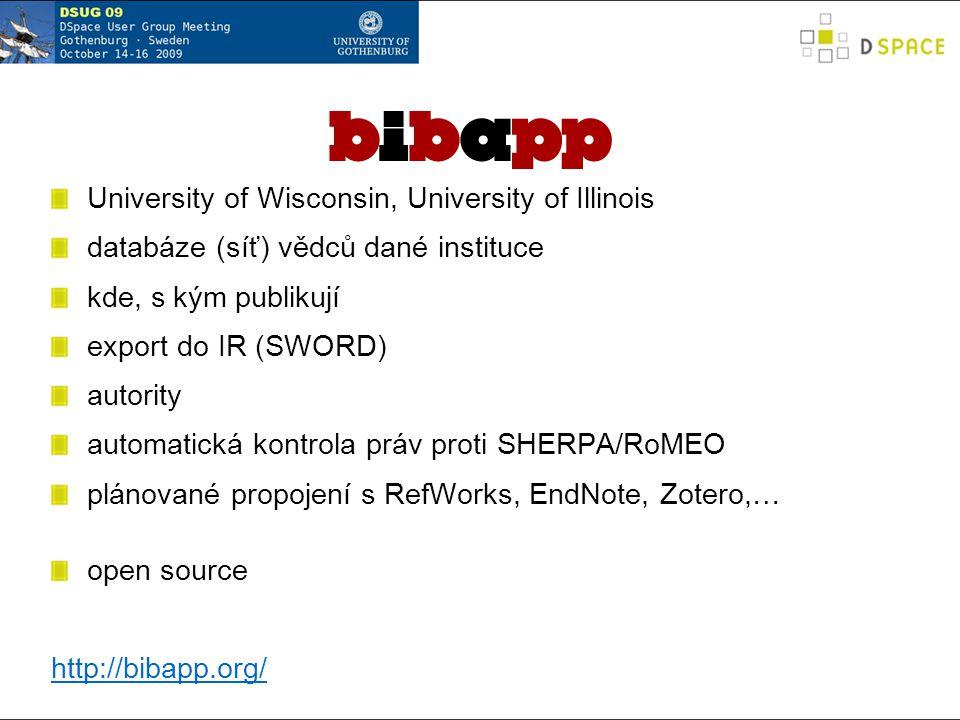 University of Wisconsin, University of Illinois databáze (síť) vědců dané instituce kde, s kým publikují export do IR (SWORD) autority automatická kontrola práv proti SHERPA/RoMEO plánované propojení s RefWorks, EndNote, Zotero,… open source http://bibapp.org/