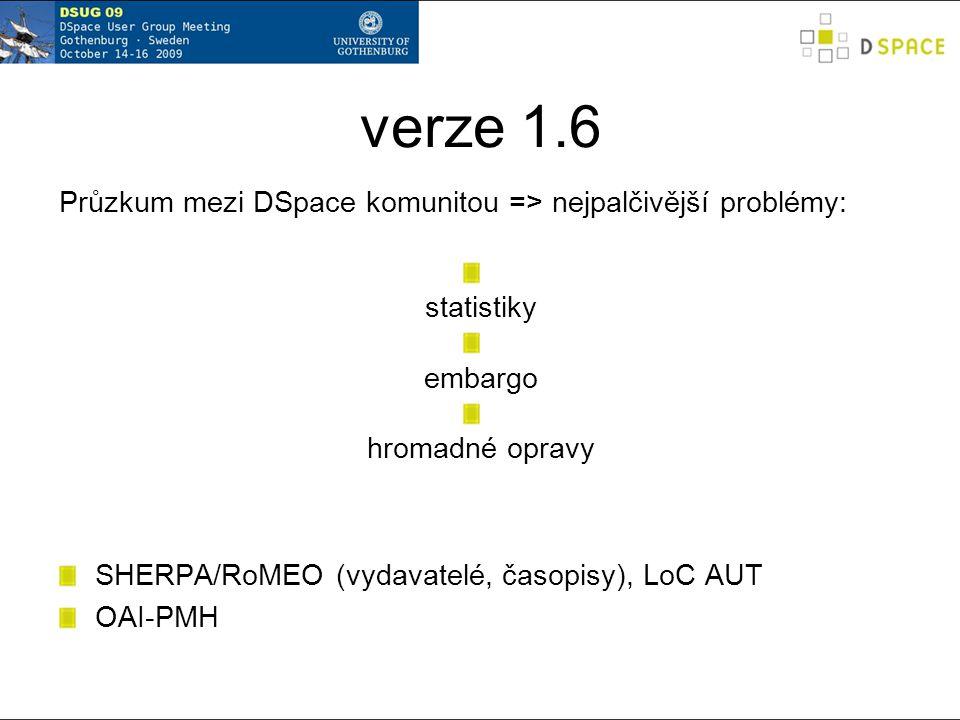 verze 1.6 ostrá verze prosinec 2009 celkem 91 úprav