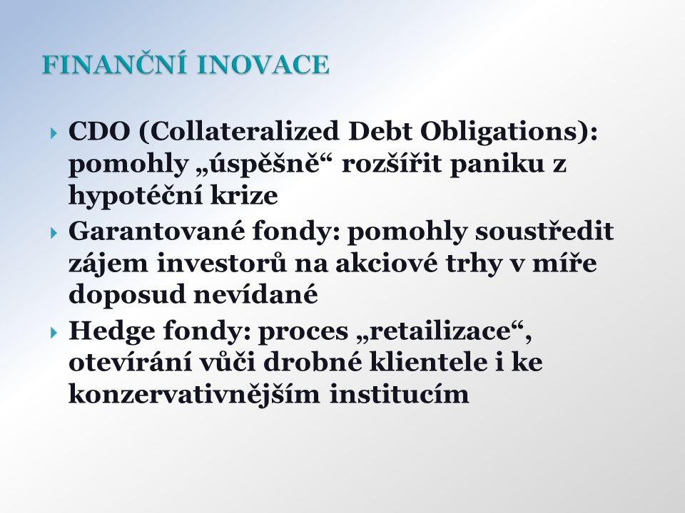 """ CDO (Collateralized Debt Obligations): pomohly """"úspěšně rozšířit paniku z hypotéční krize  Garantované fondy: pomohly soustředit zájem investorů na akciové trhy v míře doposud nevídané  Hedge fondy: proces """"retailizace , otevírání vůči drobné klientele i ke konzervativnějším institucím"""