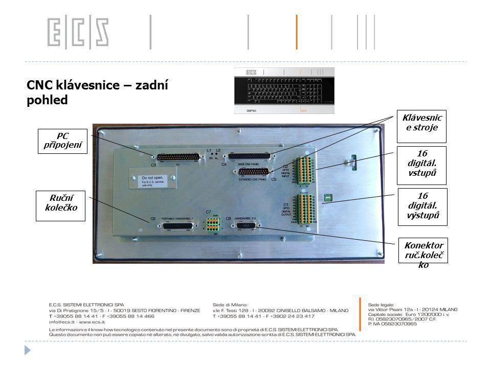 Klávesnic e stroje 16 digitál. vstupů 16 digitál. výstupů Konektor ruč.koleč ko Ruční kolečko PC připojení CNC KEYBOARD ( 091H029 Frontal view ) CNC k