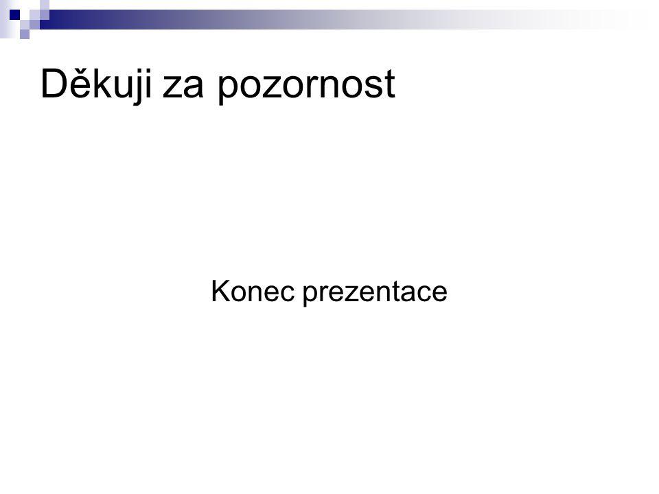Děkuji za pozornost Konec prezentace