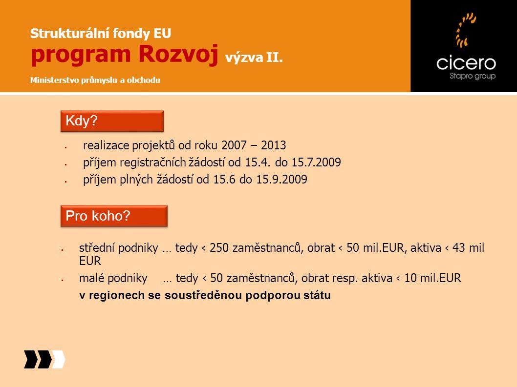 Strukturální fondy EU program Rozvoj výzva II. Ministerstvo průmyslu a obchodu  realizace projektů od roku 2007 – 2013  příjem registračních žádostí