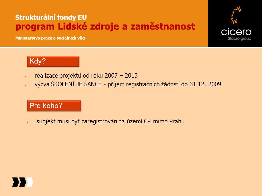 Strukturální fondy EU program Lidské zdroje a zaměstnanost Ministerstvo práce a sociálních věcí  realizace projektů od roku 2007 – 2013  výzva ŠKOLE