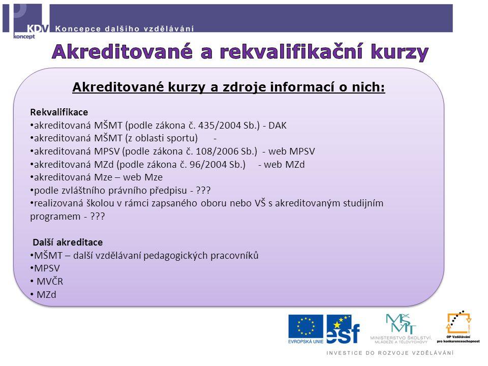 Akreditované kurzy a zdroje informací o nich: Rekvalifikace akreditovaná MŠMT (podle zákona č.