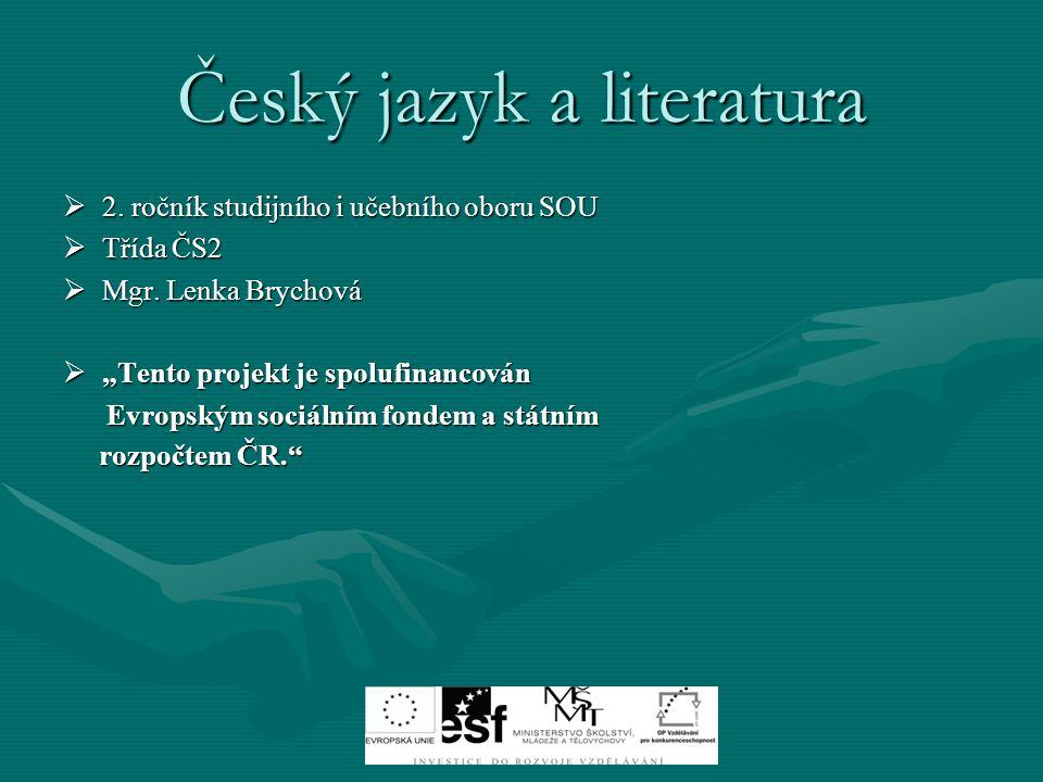 Český jazyk a literatura  2.ročník studijního i učebního oboru SOU  Třída ČS2  Mgr.