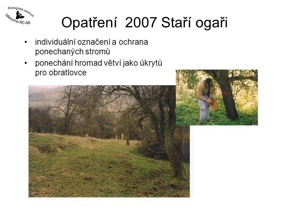 Opatření 2007 Staří ogaři individuální označení a ochrana ponechaných stromů ponechání hromad větví jako úkrytů pro obratlovce