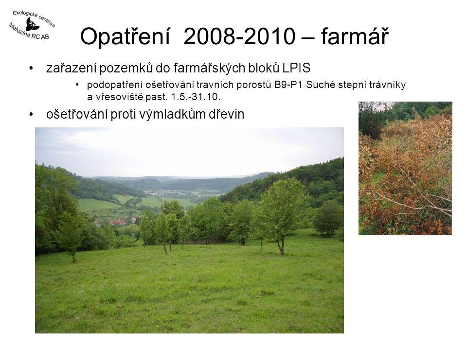 Opatření 2008-2010 – farmář zařazení pozemků do farmářských bloků LPIS podopatření ošetřování travních porostů B9-P1 Suché stepní trávníky a vřesovišt
