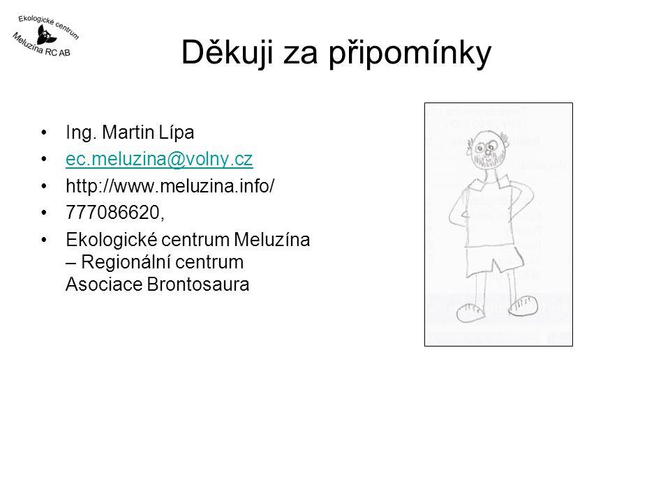 Děkuji za připomínky Ing. Martin Lípa ec.meluzina@volny.cz http://www.meluzina.info/ 777086620, Ekologické centrum Meluzína – Regionální centrum Asoci