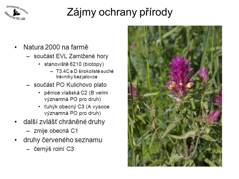 Zájmy ochrany přírody Natura 2000 na farmě –součást EVL Zamlžené hory stanoviště 6210 (biotopy) –T3.4C a D širokolisté suché trávníky bez jalovce –sou