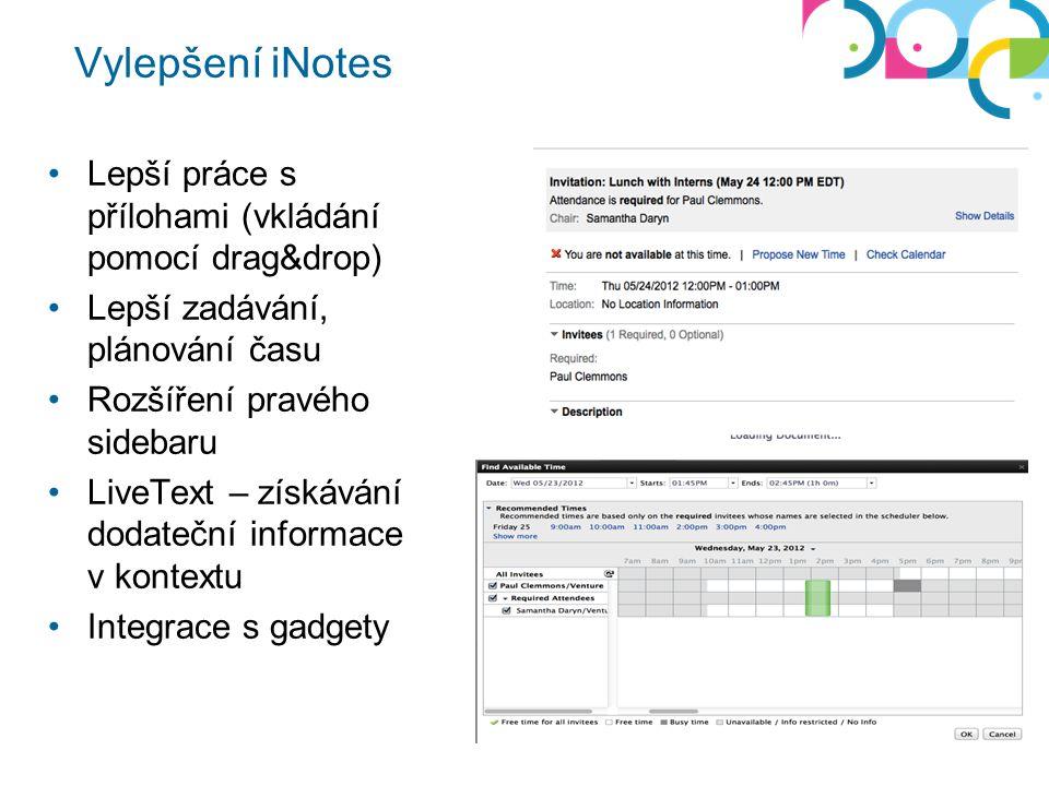 Vylepšení iNotes Lepší práce s přílohami (vkládání pomocí drag&drop) Lepší zadávání, plánování času Rozšíření pravého sidebaru LiveText – získávání dodateční informace v kontextu Integrace s gadgety