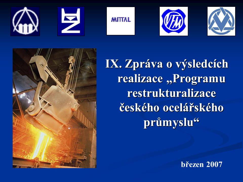 """IX. Zpráva o výsledcích realizace """"Programu restrukturalizace českého ocelářského průmyslu"""" březen 2007"""