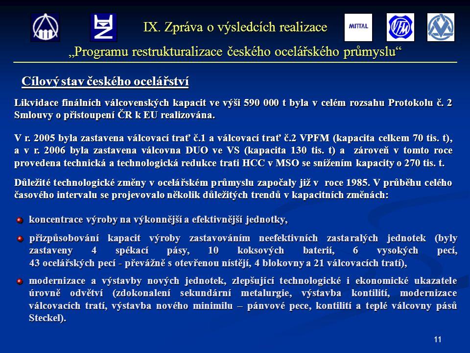 11 Cílový stav českého ocelářství IX.
