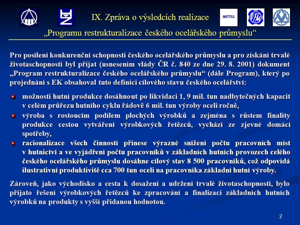 13 Počty pracovníků K řešení sociálně zaměstnaneckých důsledků restrukturalizace českého ocelářského průmyslu byl v r.