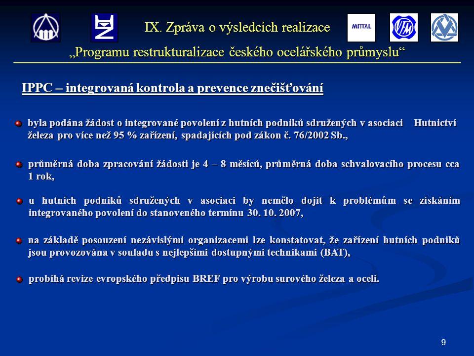20 Závěr Výsledky vykazované českým ocelářským sektorem od počátku realizace Programu akceptovaného EK dokládají, že zejména ekonomické výsledky a růst produktivity, jsou důsledkem intenzifikačních opatření restrukturalizace českého ocelářského průmyslu, jak je doporučila a monitorovala EK.