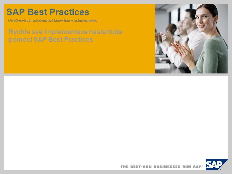 SAP Best Practices Odvětvové a meziodvětvové know-how v jednom paketu Rychle své implementace nastartujte pomocí SAP Best Practices