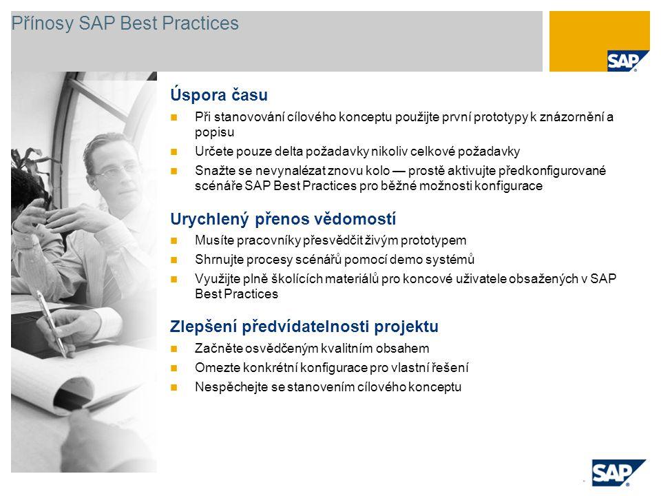Přínosy SAP Best Practices Úspora času Při stanovování cílového konceptu použijte první prototypy k znázornění a popisu Určete pouze delta požadavky n