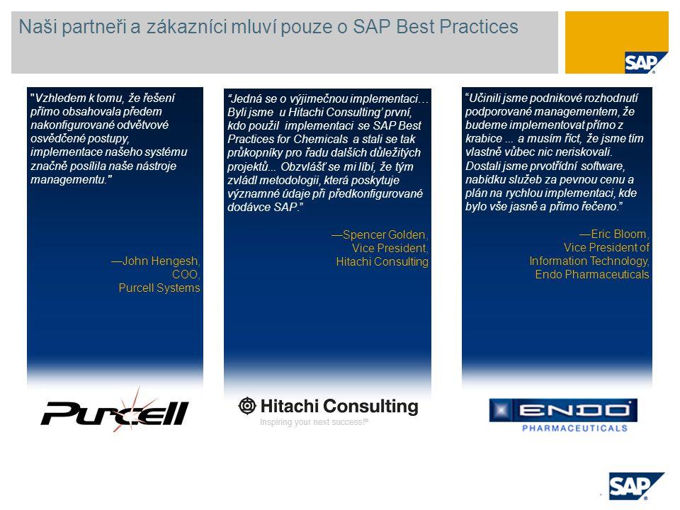 """Naši partneři a zákazníci mluví pouze o SAP Best Practices """"Jedná se o výjimečnou implementaci… Byli jsme u Hitachi Consulting' první, kdo použil impl"""