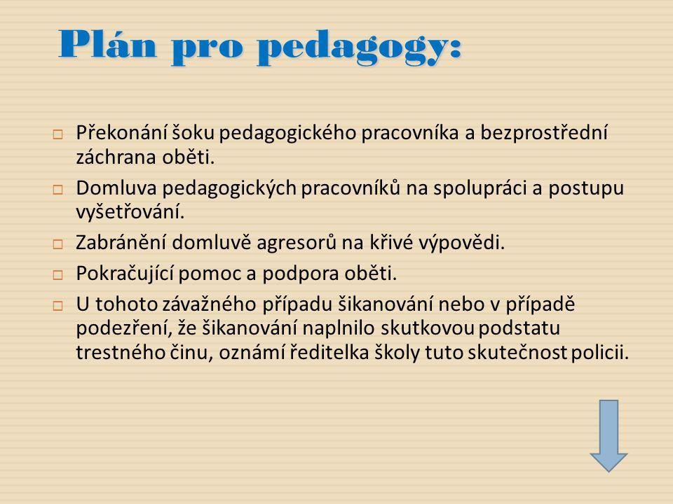 Plán pro pedagogy:  Překonání šoku pedagogického pracovníka a bezprostřední záchrana oběti.  Domluva pedagogických pracovníků na spolupráci a postup