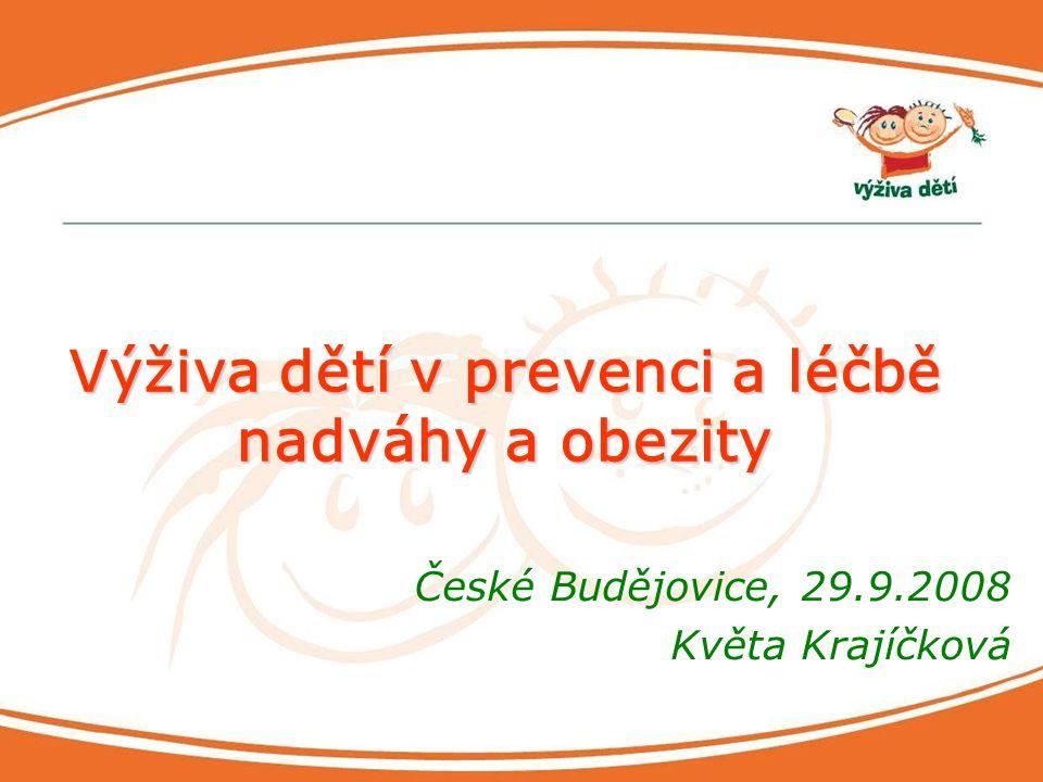 Výživa dětí v prevenci a léčbě nadváhy a obezity České Budějovice, 29.9.2008 Květa Krajíčková