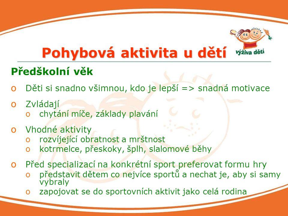 Pohybová aktivita u dětí Předškolní věk o Děti si snadno všimnou, kdo je lepší => snadná motivace o Zvládají ochytání míče, základy plavání o Vhodné a