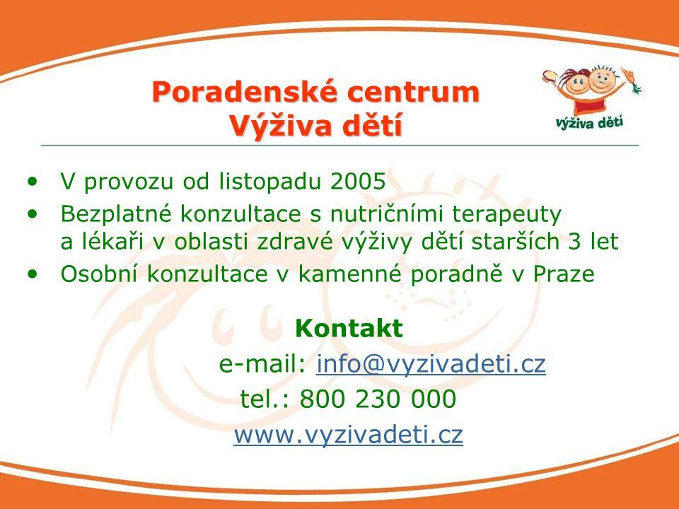 Poradenské centrum Výživa dětí V provozu od listopadu 2005 Bezplatné konzultace s nutričními terapeuty a lékaři v oblasti zdravé výživy dětí starších