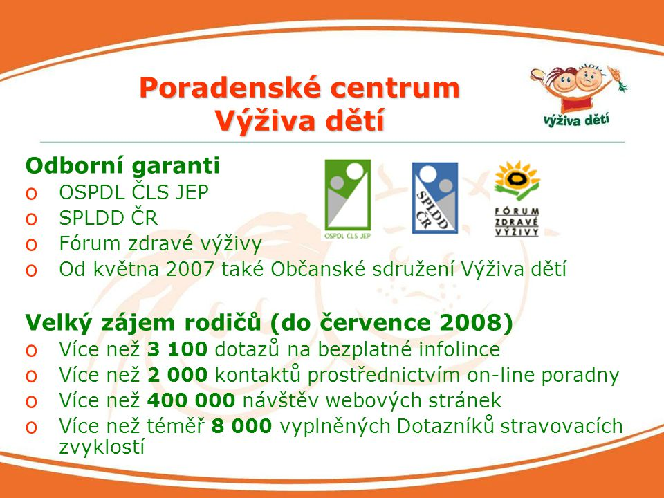 Poradenské centrum Výživa dětí Odborní garanti o OSPDL ČLS JEP o SPLDD ČR o Fórum zdravé výživy o Od května 2007 také Občanské sdružení Výživa dětí Ve