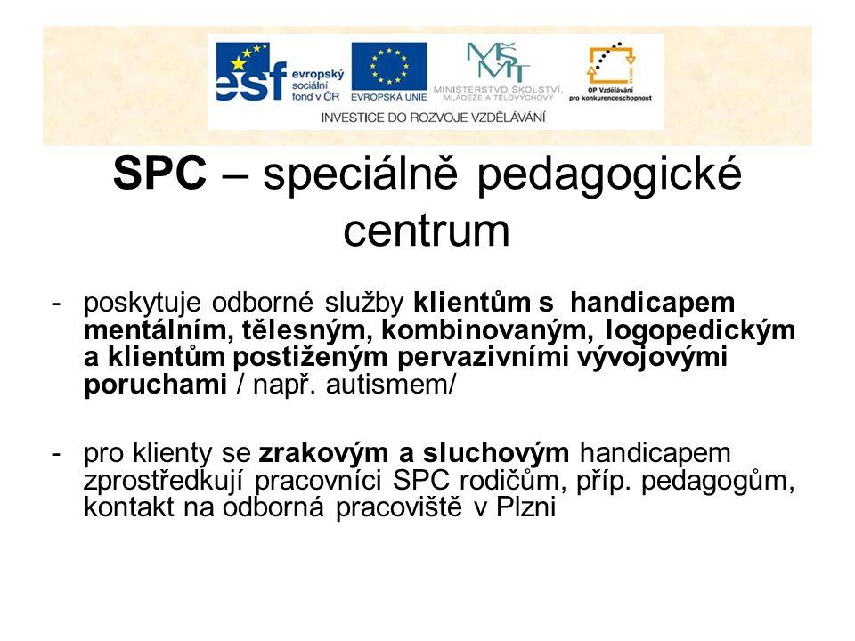 SPC – speciálně pedagogické centrum -poskytuje odborné služby klientům s handicapem mentálním, tělesným, kombinovaným, logopedickým a klientům postiže
