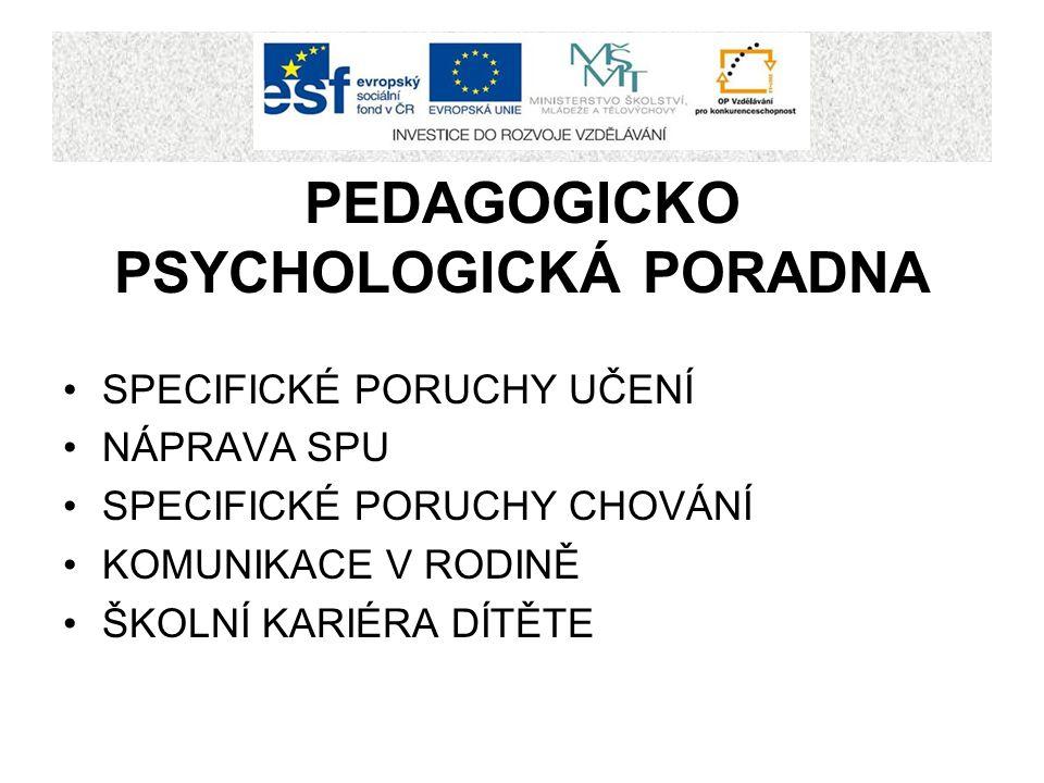 PEDAGOGICKO PSYCHOLOGICKÁ PORADNA SPECIFICKÉ PORUCHY UČENÍ NÁPRAVA SPU SPECIFICKÉ PORUCHY CHOVÁNÍ KOMUNIKACE V RODINĚ ŠKOLNÍ KARIÉRA DÍTĚTE