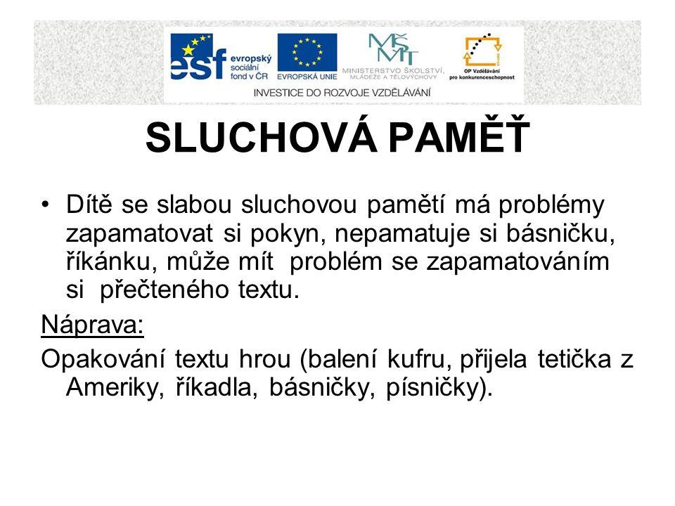 SLUCHOVÁ PAMĚŤ Dítě se slabou sluchovou pamětí má problémy zapamatovat si pokyn, nepamatuje si básničku, říkánku, může mít problém se zapamatováním si