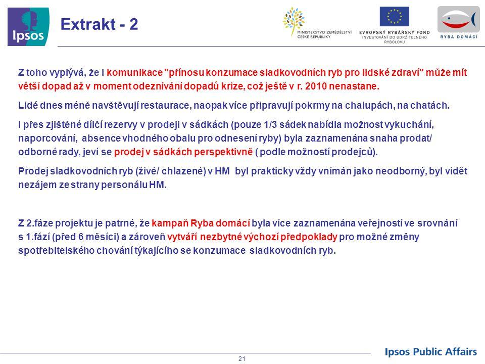 21 Extrakt - 2 Z toho vyplývá, že i komunikace přínosu konzumace sladkovodních ryb pro lidské zdraví může mít větší dopad až v moment odeznívání dopadů krize, což ještě v r.