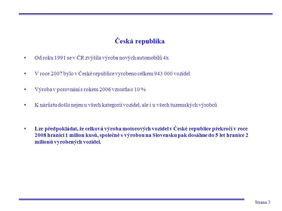 Strana 3 Od roku 1991 se v ČR zvýšila výroba nových automobilů 4x V roce 2007 bylo v České republice vyrobeno celkem 943 000 vozidel Výroba v porovnán
