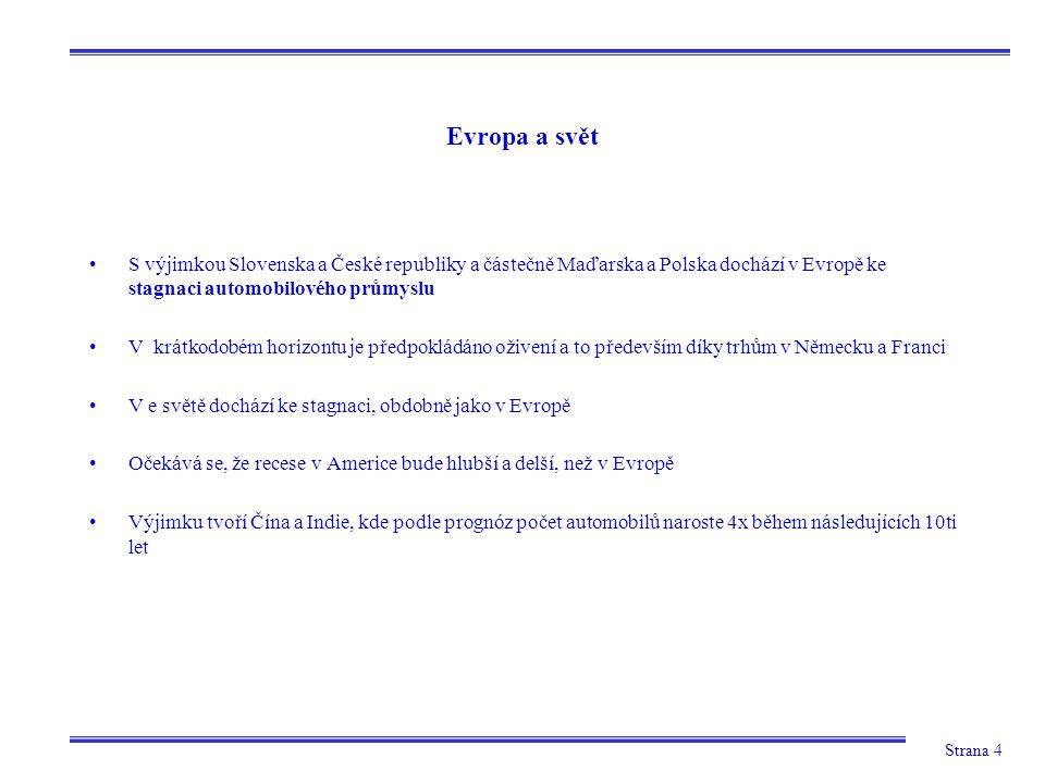 Strana 4 Evropa a svět S výjimkou Slovenska a České republiky a částečně Maďarska a Polska dochází v Evropě ke stagnaci automobilového průmyslu V krát