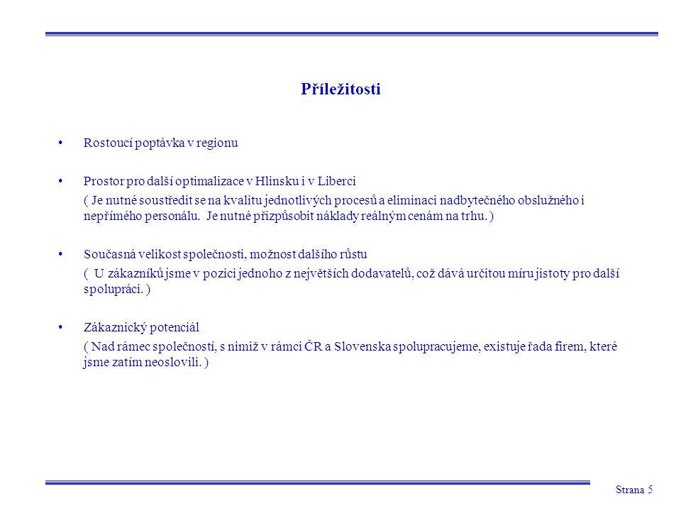 Strana 5 Příležitosti Rostoucí poptávka v regionu Prostor pro další optimalizace v Hlinsku i v Liberci ( Je nutné soustředit se na kvalitu jednotlivýc