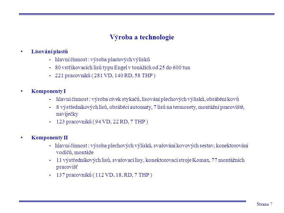 Strana 7 Výroba a technologie Lisování plastů - hlavní činnost : výroba plastových výlisků - 80 vstřikovacích lisů typu Engel v tonážích od 25 do 600