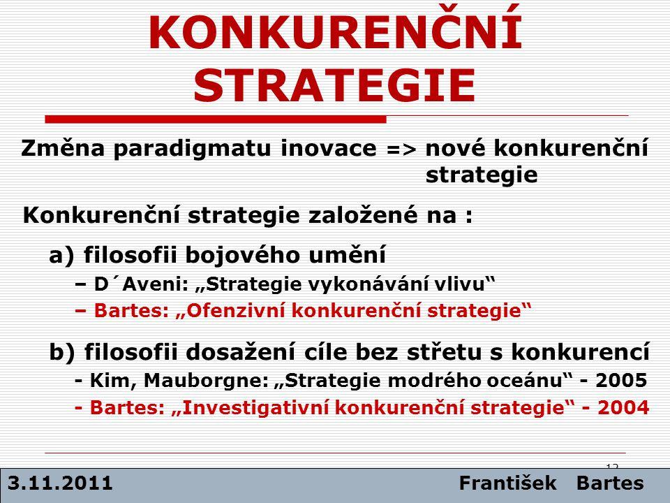 """12 Změna paradigmatu inovace => nové konkurenční strategie Konkurenční strategie založené na : a) filosofii bojového umění – D´Aveni: """"Strategie vykon"""
