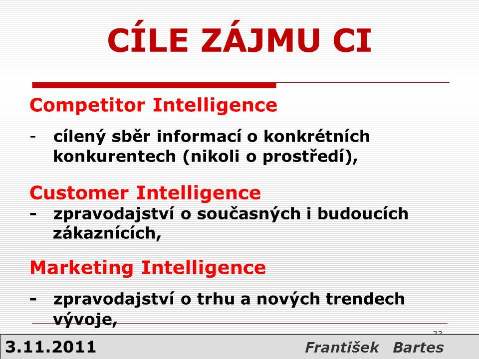 Competitor Intelligence - cílený sběr informací o konkrétních konkurentech (nikoli o prostředí), Customer Intelligence - zpravodajství o současných i