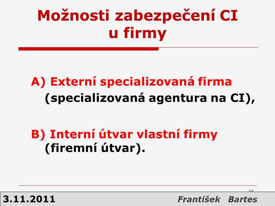 35 Možnosti zabezpečení CI u firmy A) Externí specializovaná firma (specializovaná agentura na CI), B) Interní útvar vlastní firmy (firemní útvar). 35