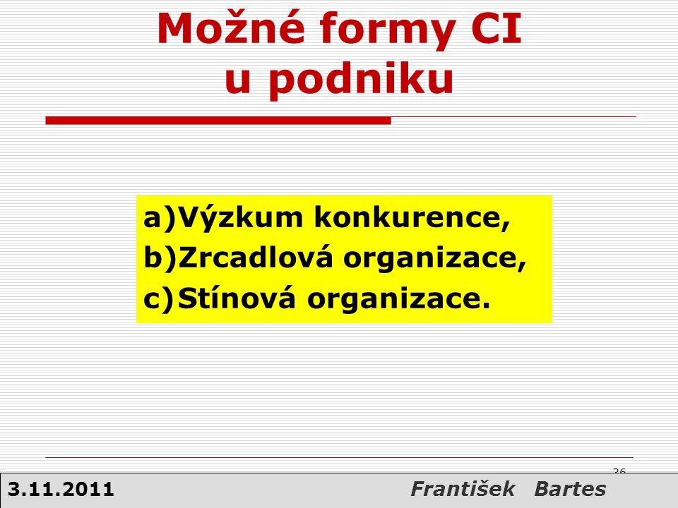 36 Možné formy CI u podniku a)Výzkum konkurence, b)Zrcadlová organizace, c)Stínová organizace. 36 3.11.2011 František Bartes